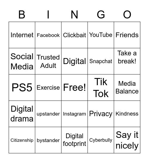 Digital Citizenship Bingo Card