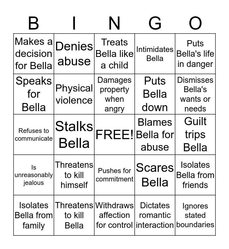 Abusive Relationship Bingo! Bingo Card