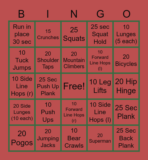 FITNESS BINGO!! Bingo Card