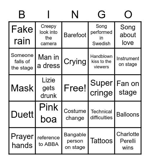 Melodifestivalen 2021, deltävling 1 Bingo Card