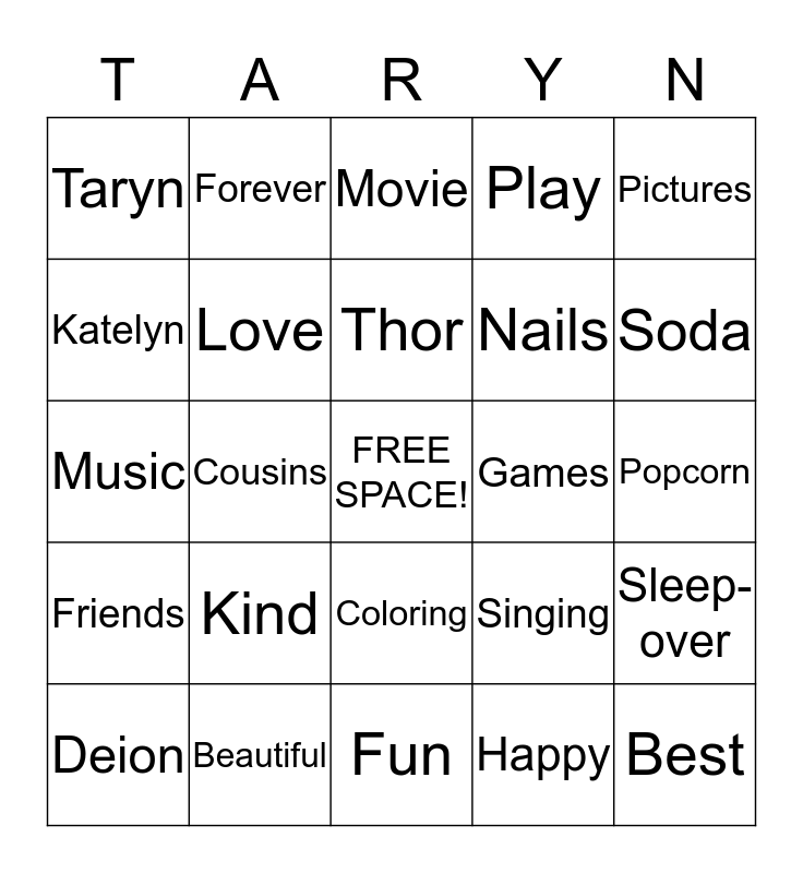 KATELYN AND Bingo Card