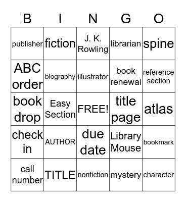 LIBRARY Bingo Card