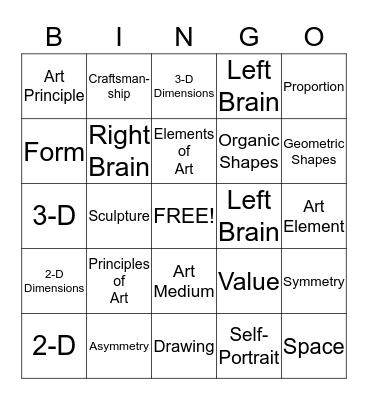 Art Mid Term Review Bingo Card