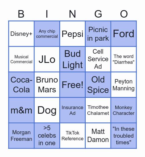 Super Bowl Commercial Bingo Card