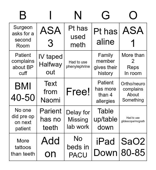 Anesthesia  Bingo Card