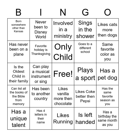 Youth Group Get to Know You Bingo Card