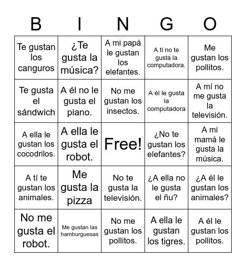 Me Gusta Bingo Card