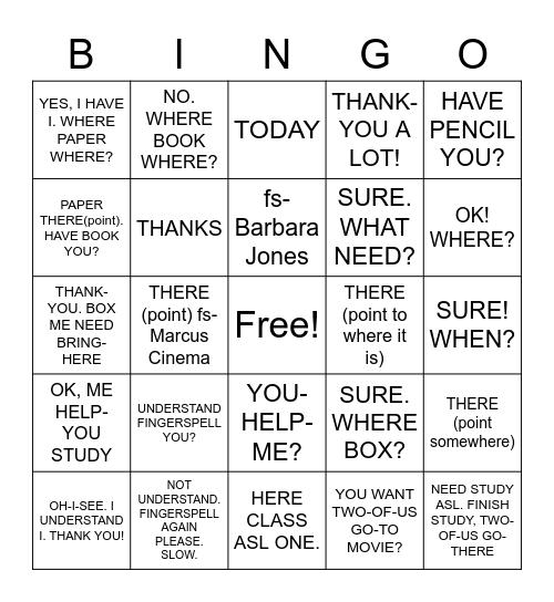 Practice 3.4 Expressive Bingo Card