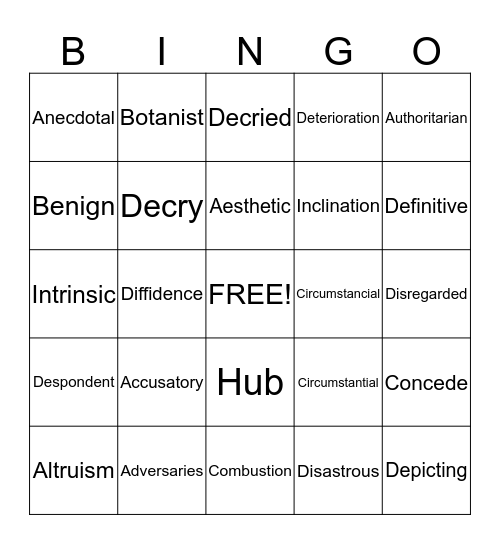 AVID Vocabulary Bingo Card