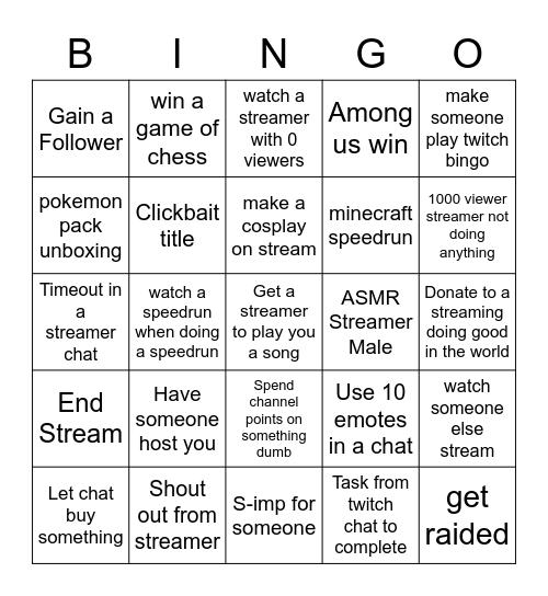 Twitch Bingo V1 Bingo Card