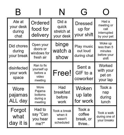 WORK AT HOME Bingo Card