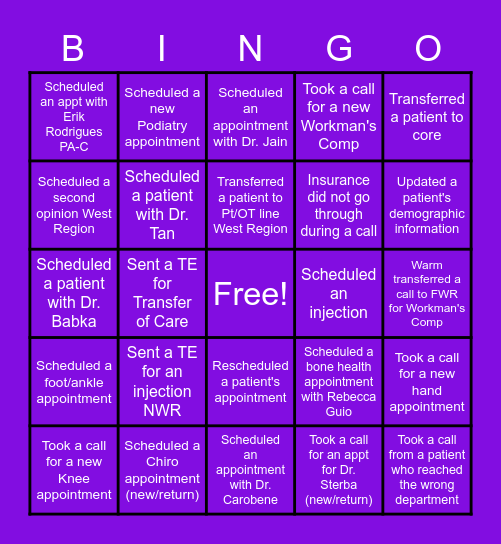 Orthopaedics Bingo Card