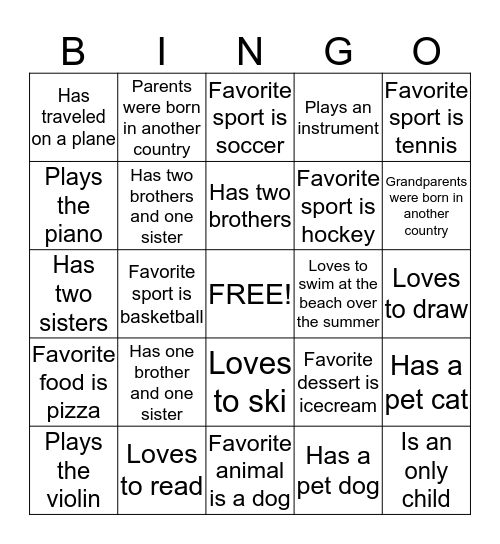 Second Grade Bingo Card