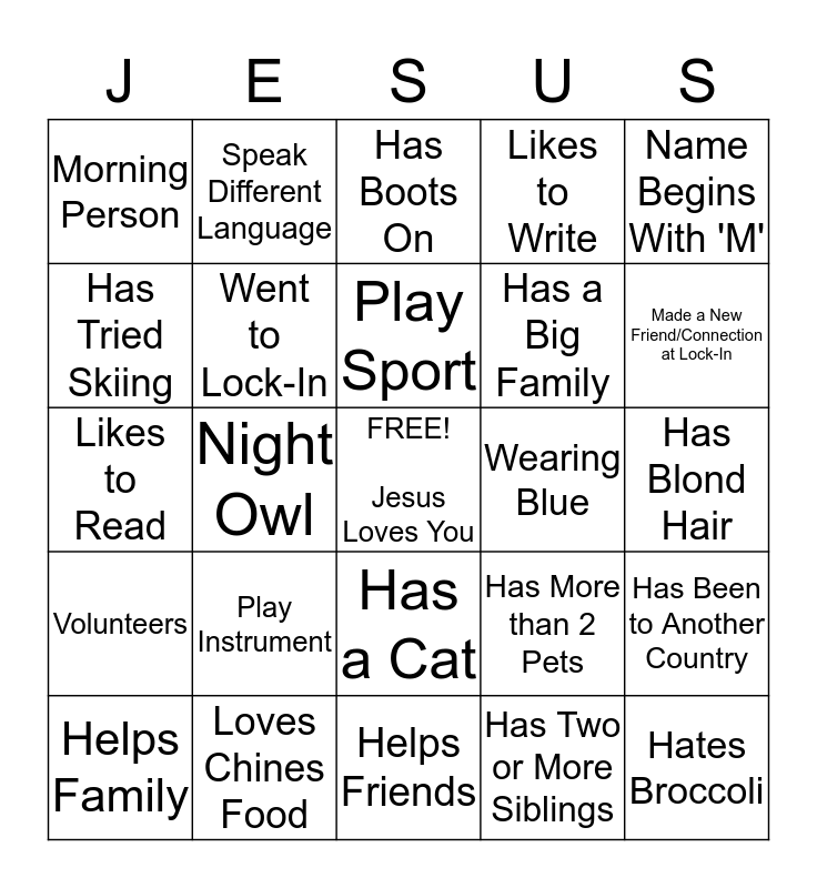 Our Gifts Bingo Card