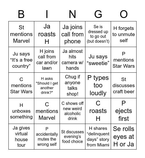 SSCD Bingo Card