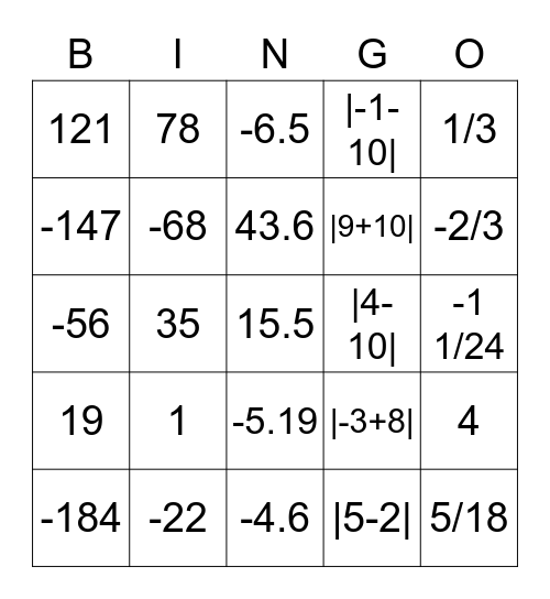 Addition & Subtraction Bingo Card