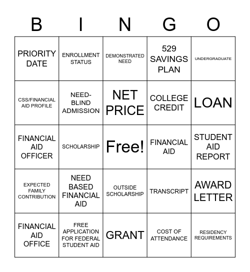 PAYING FOR COLLEGE BINGO Card