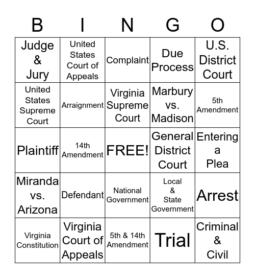 The Judicial Branch Bingo Card