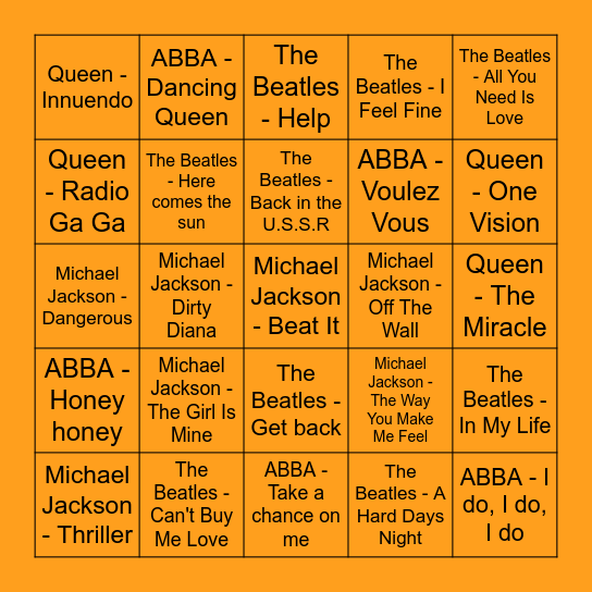 Abba - Michael Jackson - Queen - The Beatles Bingo Card
