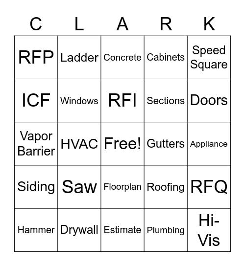 Clark Construction Bingo Card