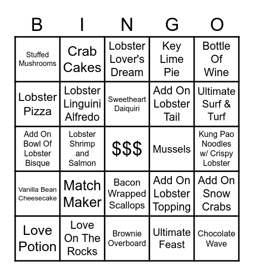 Valentine's Day Bingo Card