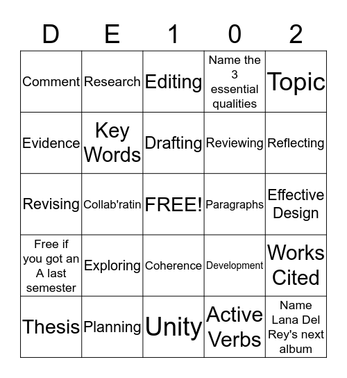 Chapter 2 Bingo Card