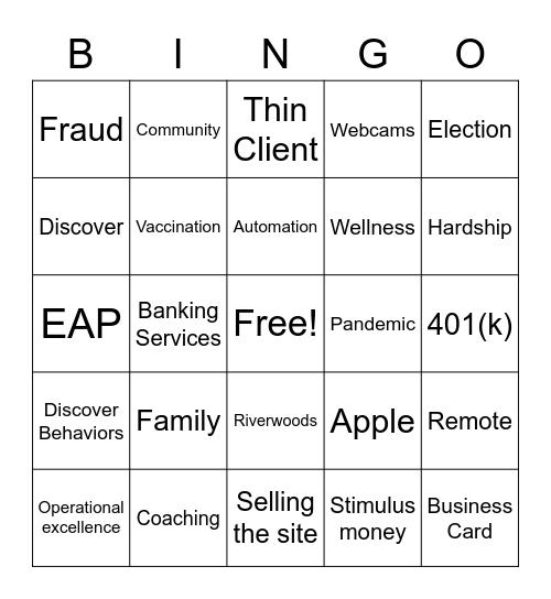 Roadshow Bingo Card