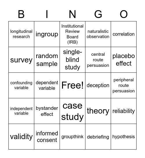 Final Psych Bingo Card