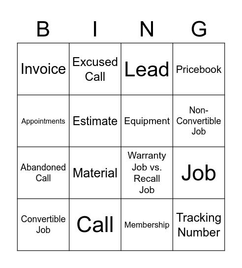Bingo Lingo Bingo Card
