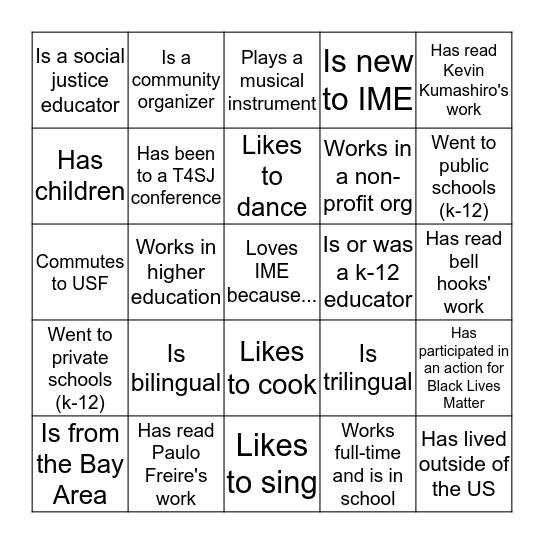Critical Analysis of Urban Schooling Bingo Card