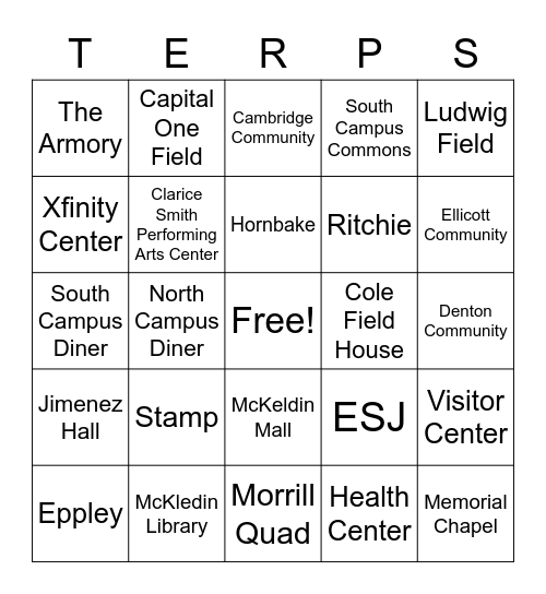 Spots on Campus Bingo Card