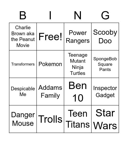 TV & Film Bingo Card