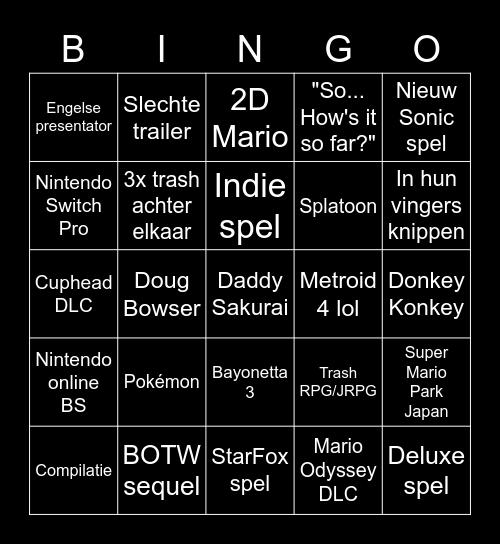 Nintendo Direct Bingo Card