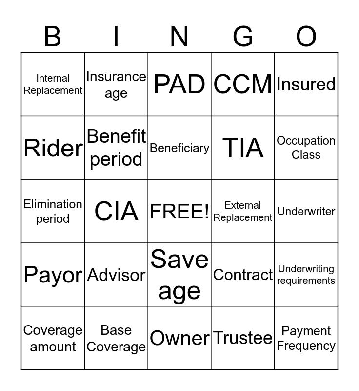 Insurance Terminology Bingo Card