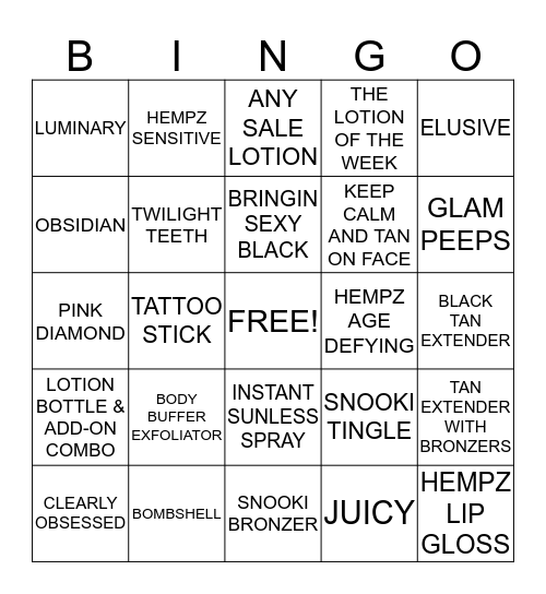 Tropical Zone Product Bingo! Bingo Card
