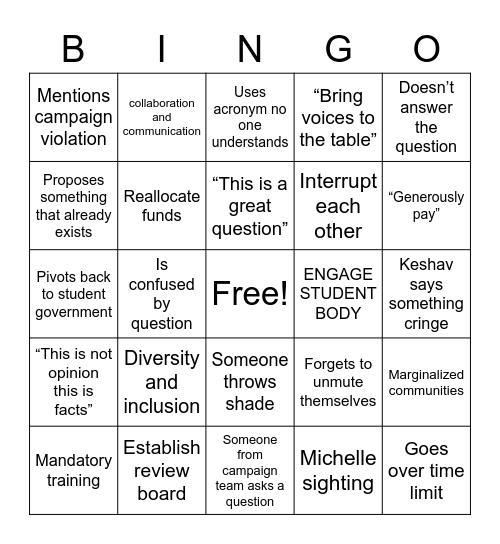 SBP debate bingo Card