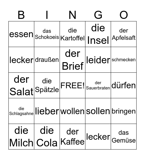Kapitel 6 Vokabeln Bingo Card
