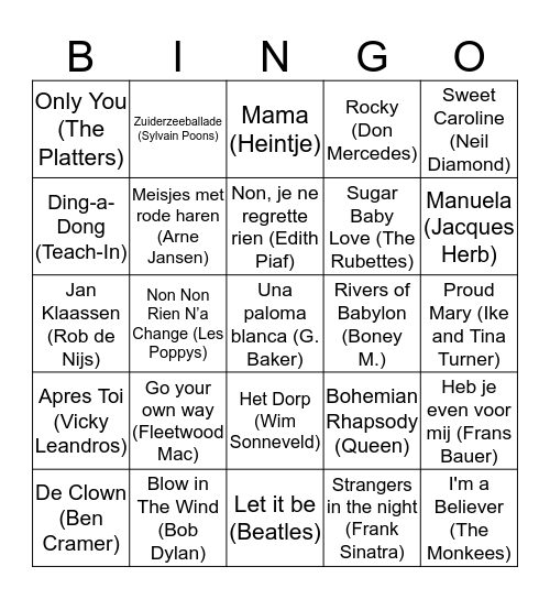 Muziekbingo Rabobank Oost Betuwe Bingo Card
