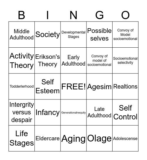 Late Adulthood Bingo Card