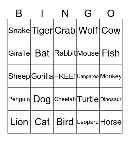 Animal Bingo Card