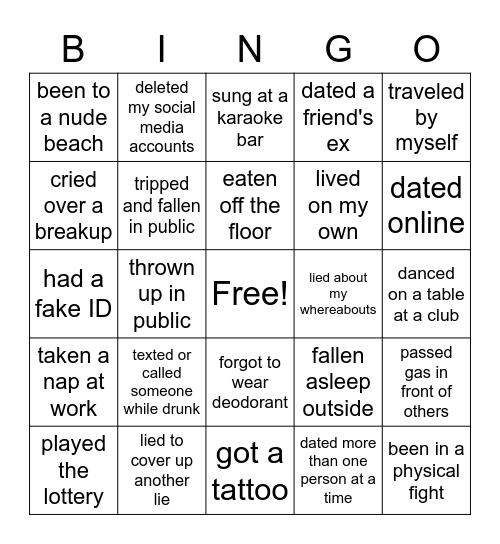 Never Have I Ever Bingo Card