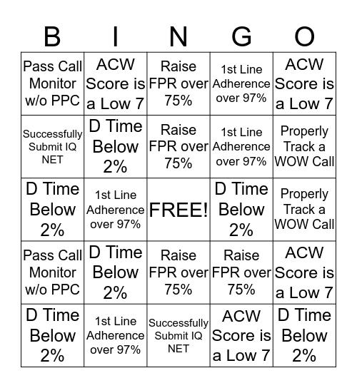 Team Patino Bingo Card