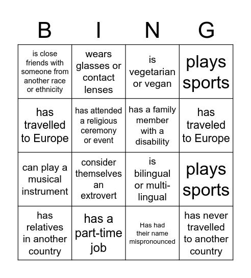 Class Bingo Card