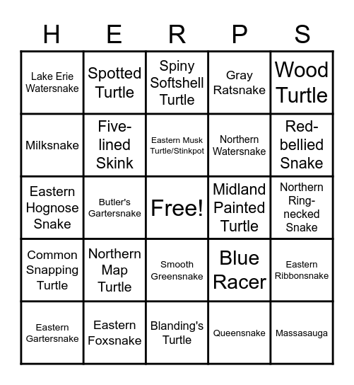 Reptiles of Ontario Bingo Card