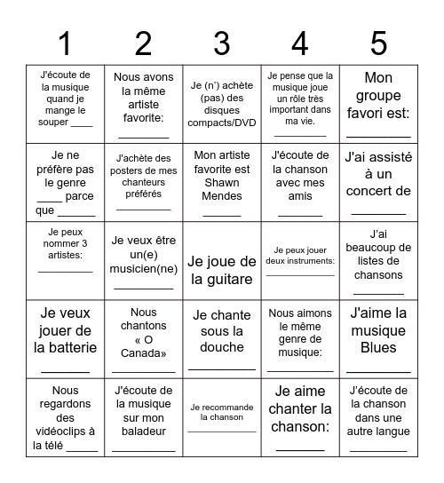 LES MUSIQUES! Bingo Card