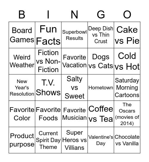 Spirit Week Bingo Card