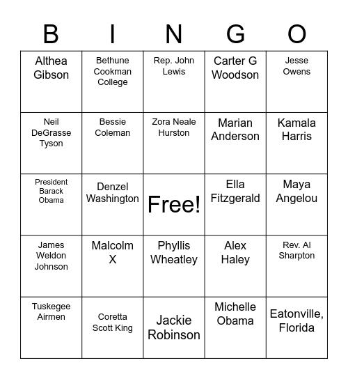Black History Month Bingo Card