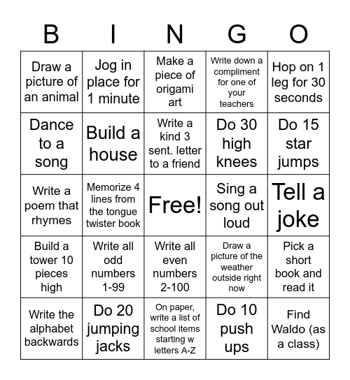 PAJAMA DAY BINGO! Bingo Card