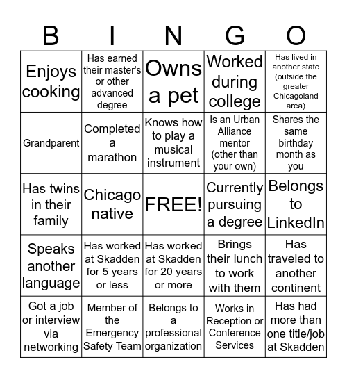 Networking Bingo Card