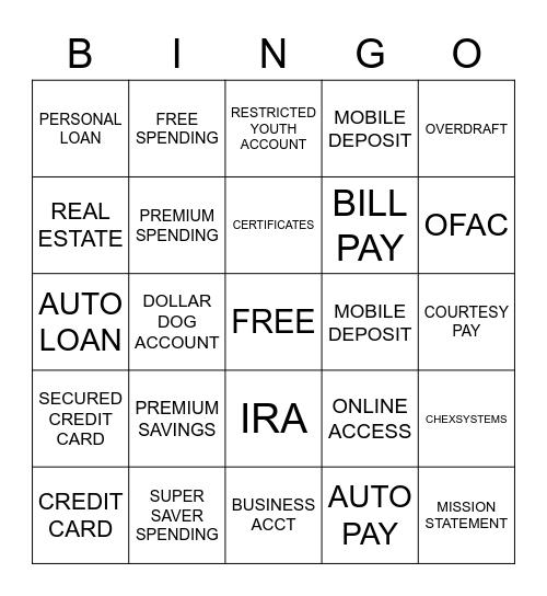 CROSS SELL BINGO! Bingo Card